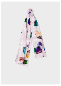 Women's Light Pink 'Precious Stones' Silk Scarf