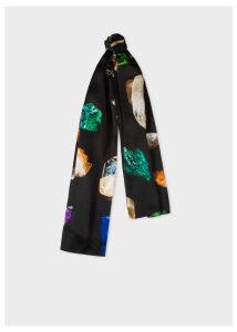 Women's Black 'Precious Stones' Print Silk Scarf