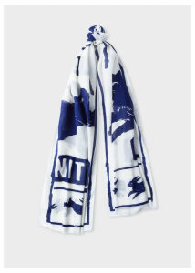 Women's White 'Liberty Rabbit' Print Scarf