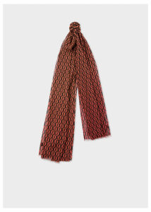 Women's Red Dip Dye Screen Print 'Fox' Modal Scarf