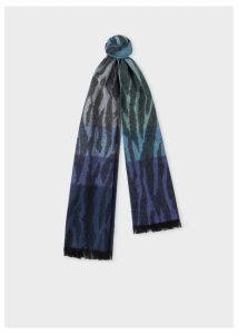 Women's Tonal Blue 'Tree Bark' Lambswool And Cashmere Scarf