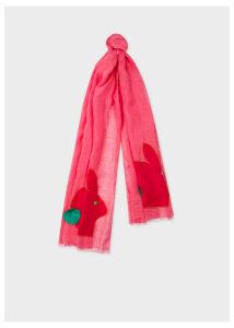 Women's Pink Rabbit Motif Linen Scarf