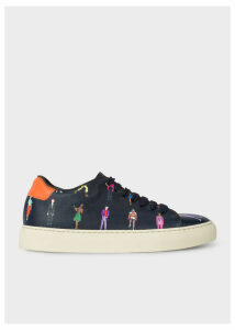 Women's Navy Leather 'People' Print 'Basso' Trainers