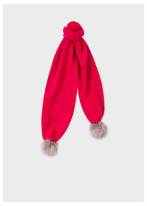 Women's Pink Wool Ribbed Scarf with Pom Poms