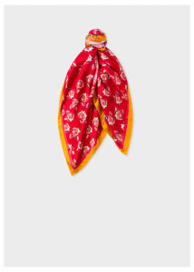 Women's Red 'Year Of The Pig' Motif Silk Square Scarf