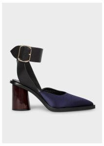Women's Dark Navy Satin & Leather 'Gaia' Sandals