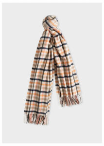 Women's Cream and Grey Check Lambswool And Cashmere Scarf
