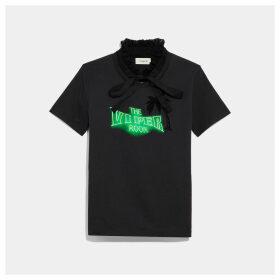 Coach Viper Room Neon T-shirt With Ruffled Collar