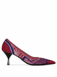 Prada red 65 stretch knit leather pumps