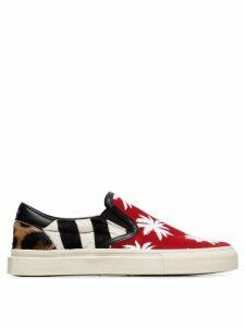 Amiri multicoloured palm print calf hair and canvas sneakers