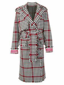 MSGM houndstooth wrap style coat - Black