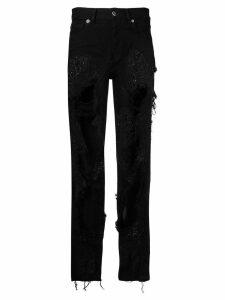 Almaz ripped lace jeans - Black