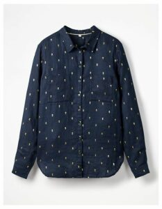 The Linen Shirt Multi Women Boden, Navy