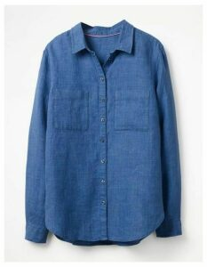 The Linen Shirt Blue Women Boden, Blue