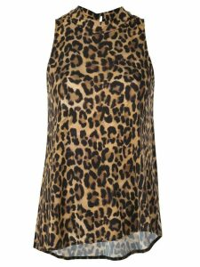 Nicole Miller Furry leopard blouse - Brown