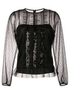 Red Valentino ruffled lace blouse - Black