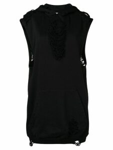 Almaz distressed sleeveless hoodie - Black