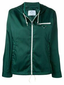 Prada logo plaque zip hoodie - Green