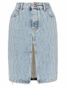 Filles A Papa rhinestone embellished denim skirt - Blue