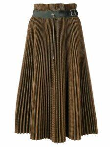 Sacai plisse check skirt - Green