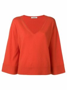 Dorothee Schumacher knit loose fit V-neck jumper - Orange