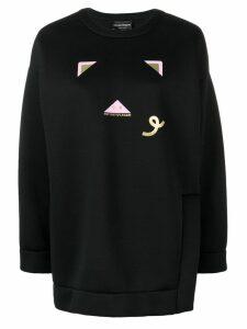 Emporio Armani pig logo print jumper - Black