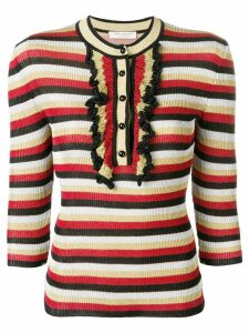 Philosophy Di Lorenzo Serafini ruffle detail striped sweater - Black