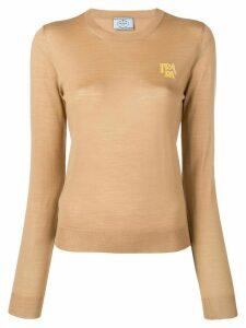 Prada logo knitted jumper - Brown
