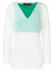 Y/Project off-shoulder layered sweater - White