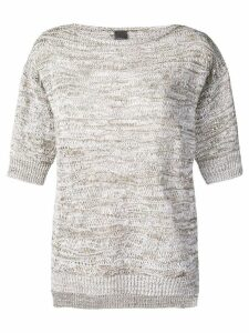 Lorena Antoniazzi round neck knitted top - NEUTRALS