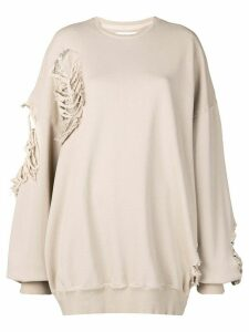 Almaz oversized distressed sweatshirt - Neutrals