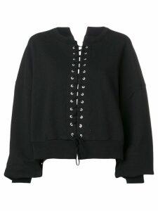 Unravel Project oversized tie front sweatshirt - Black