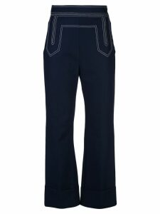 Khaite stitch detail flared trousers - Blue