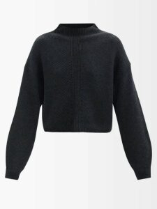 Saint Laurent - Puffed Sleeve Chantilly Lace Blouse - Womens - Black