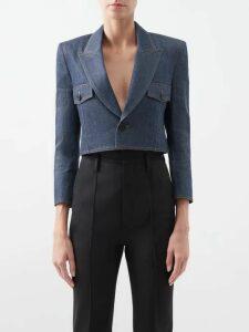 Calvin Klein - Logo-embroidered Roll-neck Flared Wool Sweater - Womens - Dark Blue