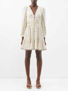Sanayi 313 - Salerno Floral Appliqué Raffia Flats - Womens - Black