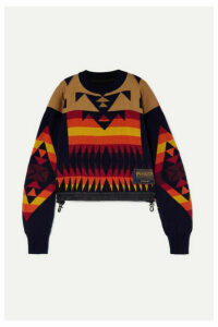 Sacai - + Pendleton Shell-trimmed Intarsia Cotton-blend Sweater - Navy