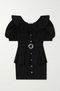 Sacai - Open-back Grosgrain-trimmed Poplin Shirt - Navy