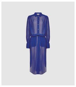Reiss Myla - Longline Sheer Shirt Dress in Blue, Womens, Size XXL