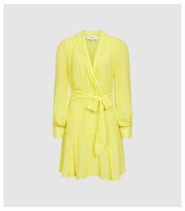 Reiss Aracelli - Sheer Mini Wrap Dress in Lemon, Womens, Size 14