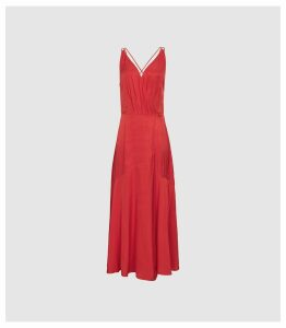 Reiss Leonie - Wrap Midi Dress in Red, Womens, Size 14