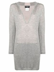 Chanel Pre-Owned hooded long sweater - Grey