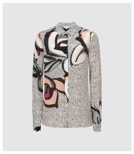 Reiss Hayley - Large Scale Floral Printed Shirt in Multi, Womens, Size 14