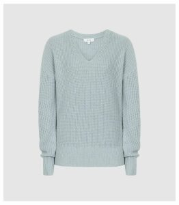 Reiss Audrey - V-neck Ribbed Jumper in Pale Blue, Womens, Size XXL