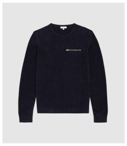 Reiss Chester - Zip Detail Sweatshirt in Navy, Mens, Size XXL