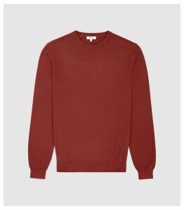 Reiss Maurice - Cotton Crew Neck Jumper in Rust, Mens, Size XXL