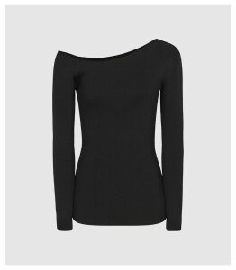 Reiss Anisa - Knitted Asymmetric Neckline Top in Black, Womens, Size XXL