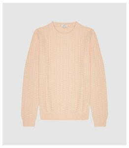 Reiss Barton - Textured Cotton Jumper in Peach, Mens, Size XXL