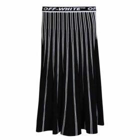 Off White Logo Knit Pleated Skirt