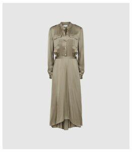 Reiss Donella - Military Detailed Midi Dress in Khaki, Womens, Size 16